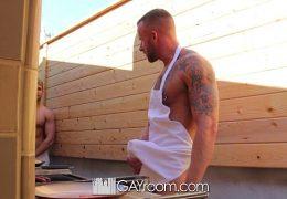 HD GayRoom – Muscle guy fucks friend after BBQ
